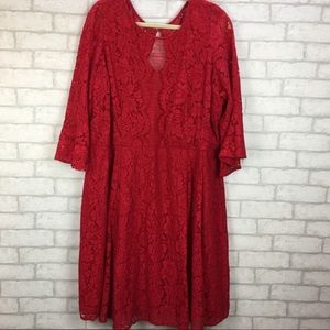 Lane Bryant 28W Red Lace